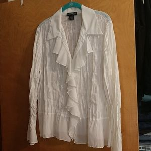 Cream ruffle blouse